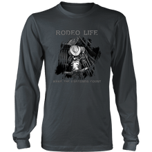 Rodeo Life Long Sleeve Tee B&W - Make The 8 Seconds Count Rodeo Life - Country Clothing - Rodeo
