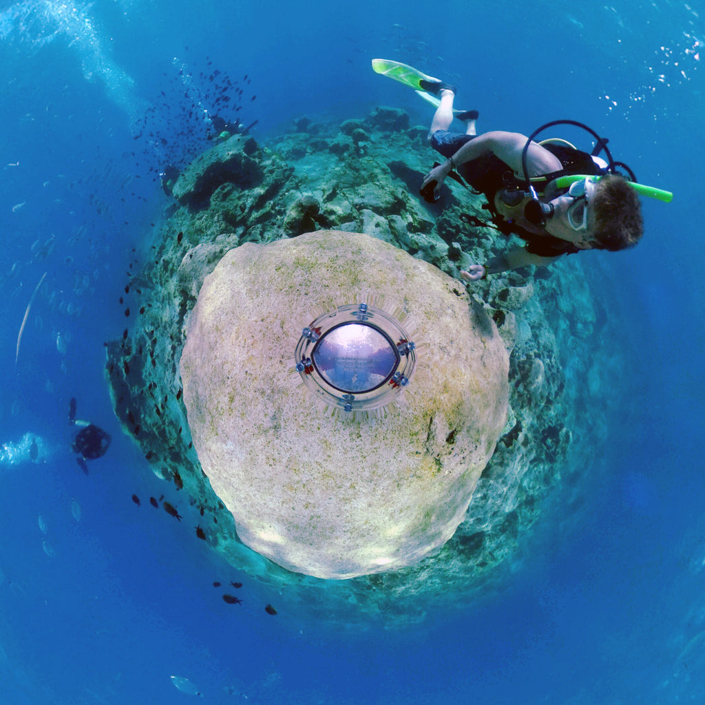 A little planet photo created from a photosphere taken with the 360bubble housing during a dive off Cyprus