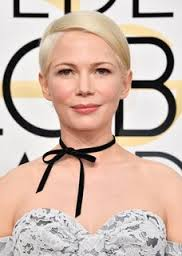 Michelle Williams on the red carpet at the Golden Globe awards of 2017 with a retro, chic, hot black choker funwithfashion.com has plenty of these and these black tie chokers are stunning and fabulous