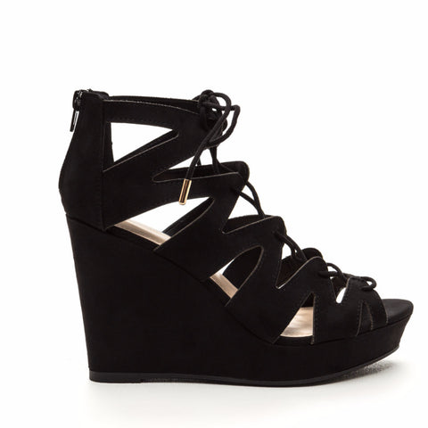 Comfortably Caged - Lace up wedge