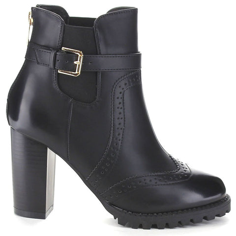 Black Oxford Ankle Boots