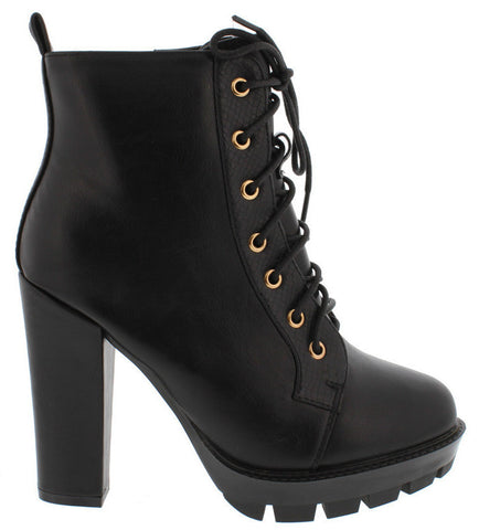 Lindsey - Black Snakeskin Trim Lace-up Boot