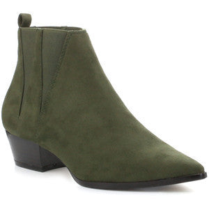 Elzy -  Olive Low Heel Pointy Toe Boot