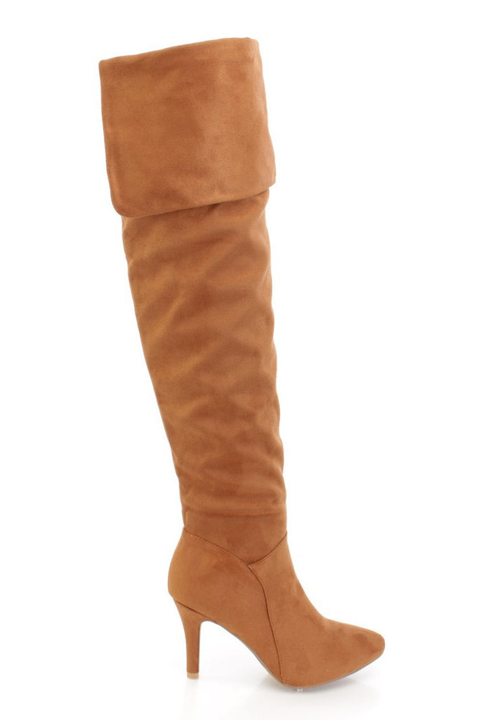 Quen - Brown Fold-over Over Knee Boots
