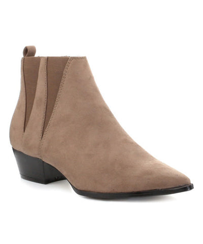 Elzy -  Taupe Low Heel Pointy Toe Boot