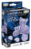Clear Cat with Kitten 3D Crystal Puzzle