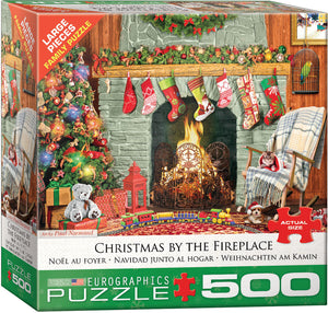 Christmas by the Fireplace 500pc Large Piece Puzzle