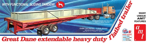 AMT 1/25 Scale Great Dane Extendable Flat Bed Trailer Model Kit