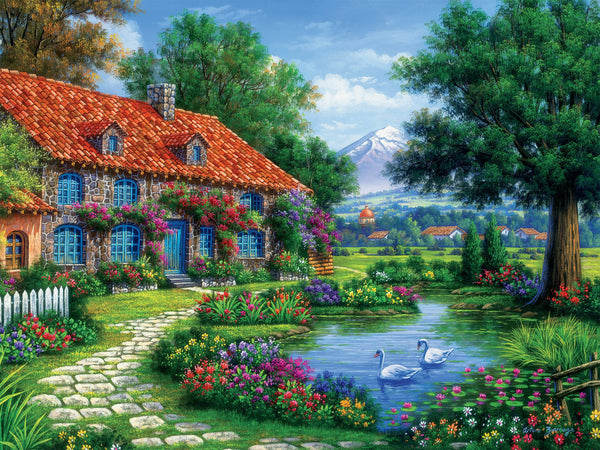 Cottage with Swans 550pc Puzzle