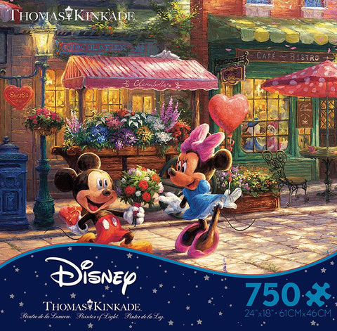 Thomas Kinkade Disney Mickey and Minnie Sweetheart Cafe 750pc Puzzle