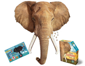 I Am Elephant 700 piece puzzle in the shape of an elephant's head