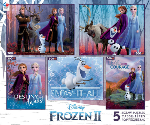 Disney Frozen 5 in 1 Pack 300pc 500pc and 750pc Puzzles