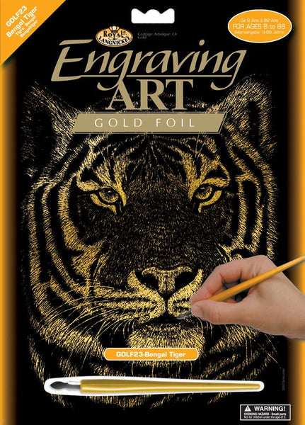 Engraving Art Gold Foil Bengal Tiger