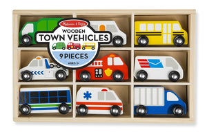 Wooden Town Vehicles Set in Wooden Tray (9 pcs)