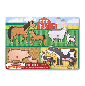 Mother and Baby Farm Animal Families Wooden Peg Puzzle (8 pcs)
