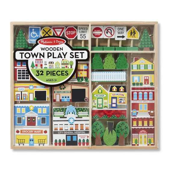 Wooden Town Play Set With Storage Tray (32 pcs)