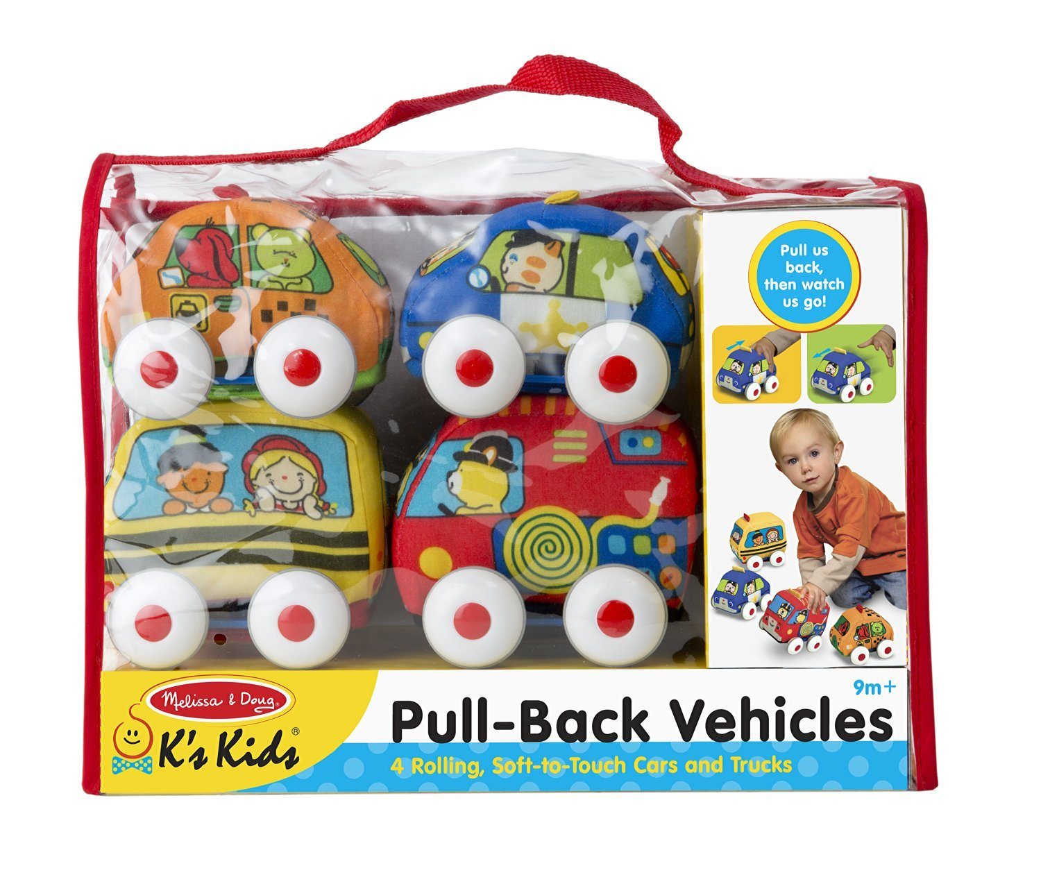 K's Kids Pull-Back Vehicle Set - Soft Baby Toy Set With 4 Cars and Trucks and Carrying Case