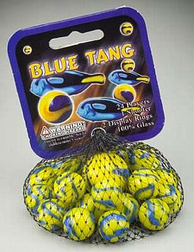 Glass Blue Tang Marbles (25 Piece)
