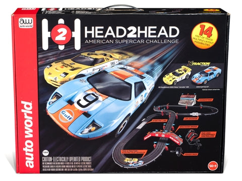 Auto World 14' Head to Head American Supercar Challenge HO Scale Slot Race Set