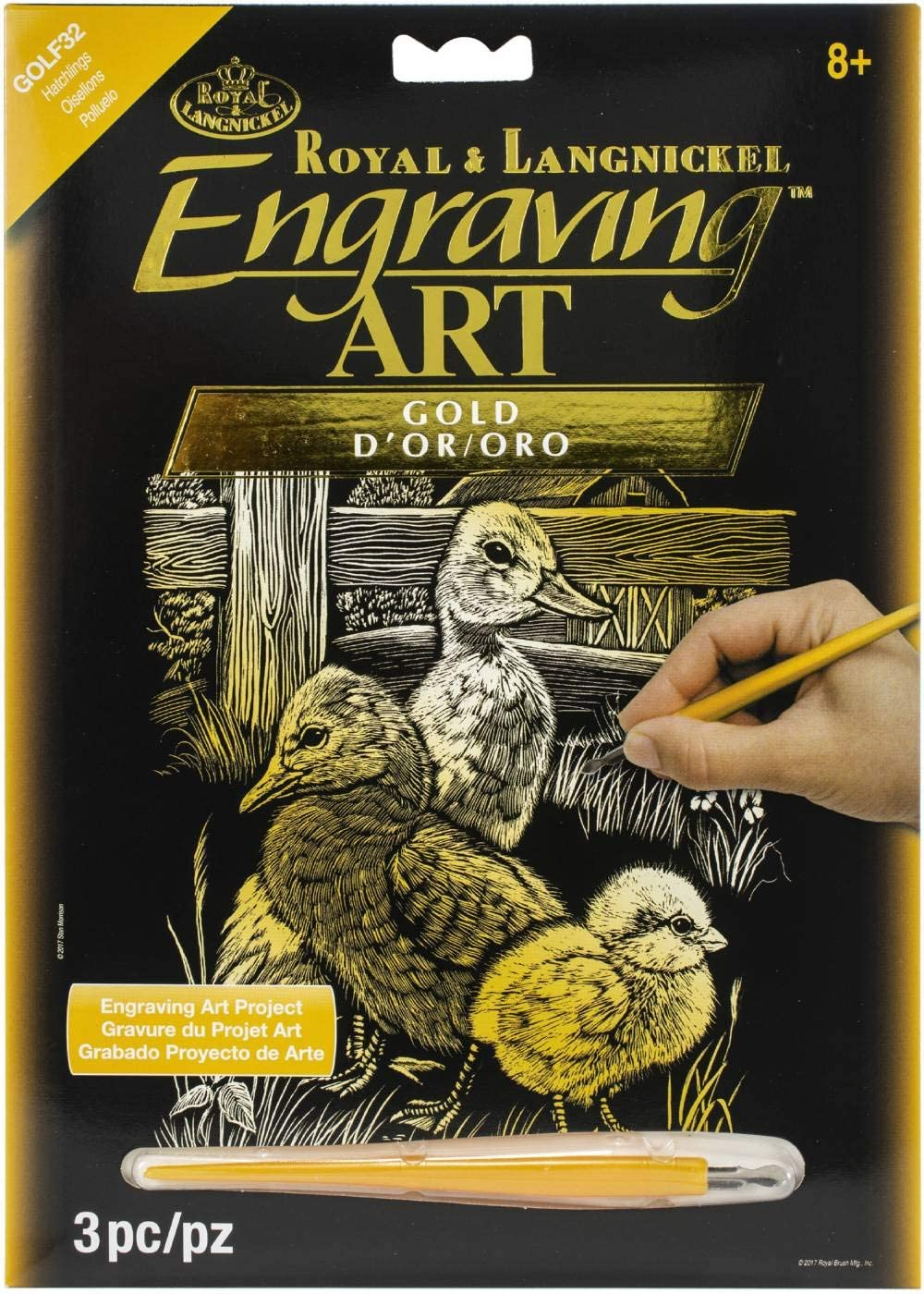 Engraving Art Gold Foil Hatchlings