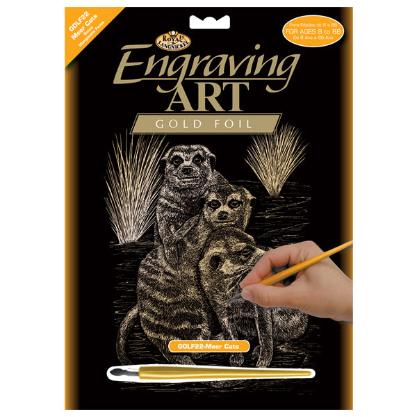 Engraving Art Gold Foil Meer Cats