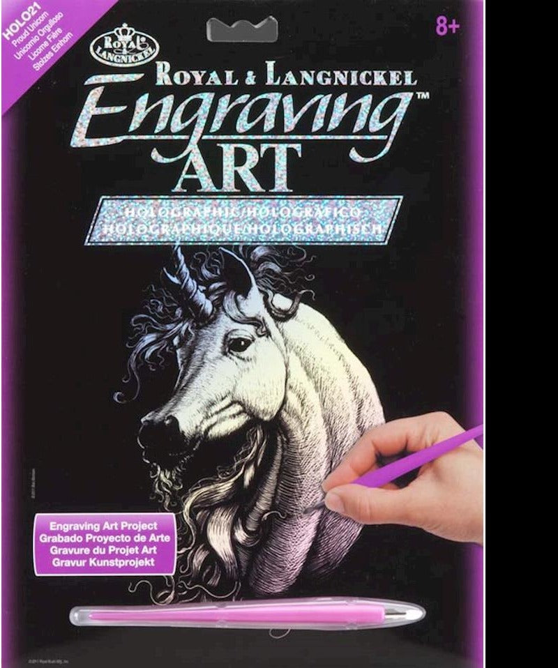 Engraving Art Holographic Unicorn