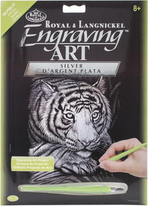 Engraving Art Silver Foil White Tiger