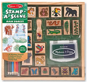Stamp-A-Scene Wooden Stamp Set Rain Forest