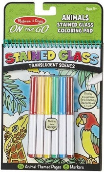 Animals-Stained Glass On-The-Go! Coloring Pad