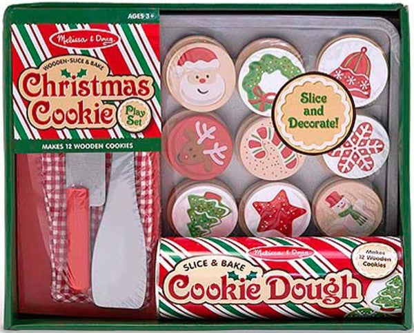 Wooden Slice & Bake Christmas Cookie Play Set #5158