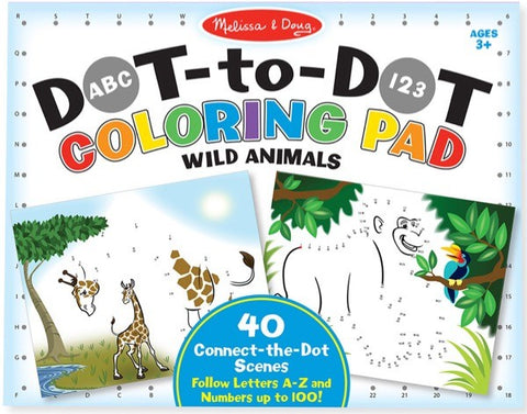 ABC 123 Dot-To-Dot Coloring Pad-Wild Animals