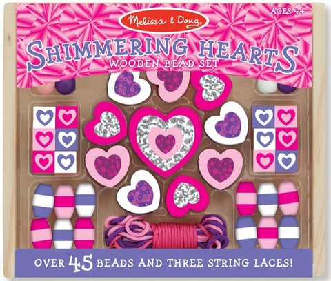 Shimmering Hearts Wooden Bead Set #9495