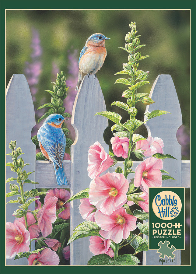 Bluebirds and Hollyhocks 1000pc Puzzle