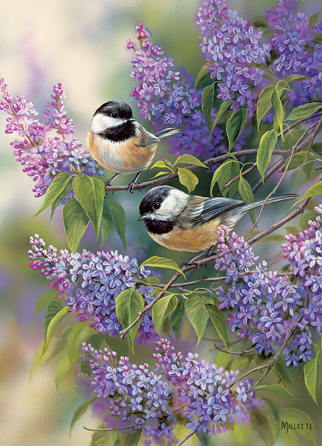 Chickadees and Lilacs 1000pc Puzzle