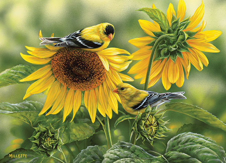 Sunflowers and Goldfinches 1000pc Puzzle