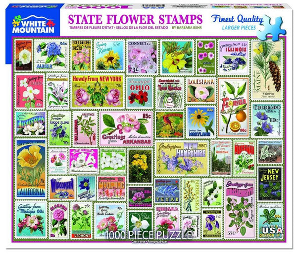 State Flower Stamps 1000pc Puzzle