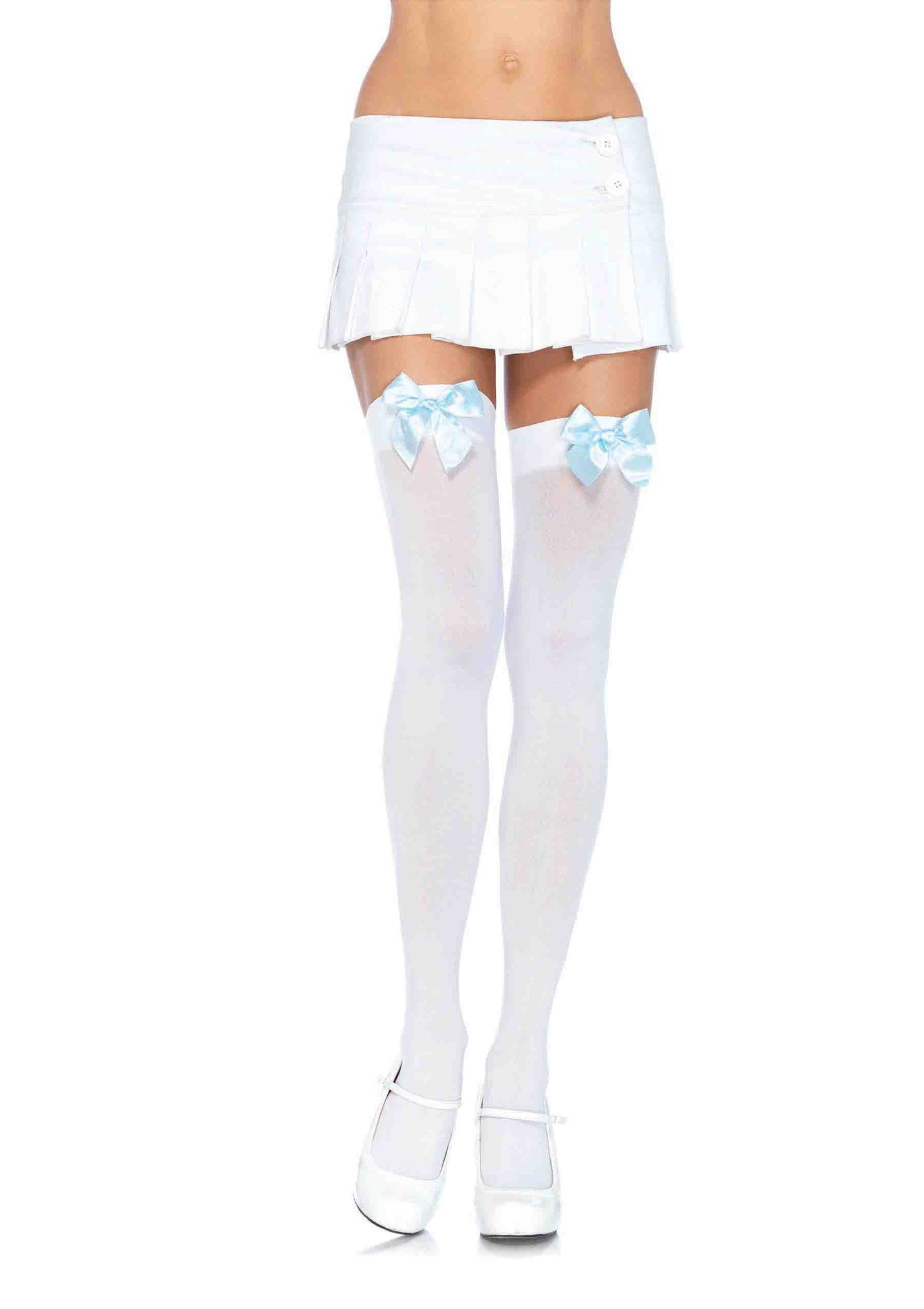 da809ffdc Opaque Thigh Hi w Bow-Wht lt. blue in Accessories from LEGAVENUE. Opaque  Thigh Highs with Satin ...