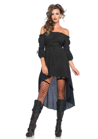 Gauze Peasant Dress- Black in Packaged Costumes from LEGAVENUE at Buffalo Breath Costumes