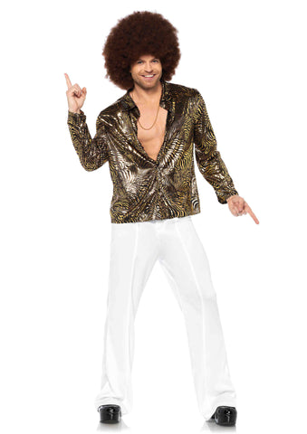 Gold Foil Zebra Disco Shirt in Packaged Costumes from LEGAVENUE at Buffalo Breath Costumes
