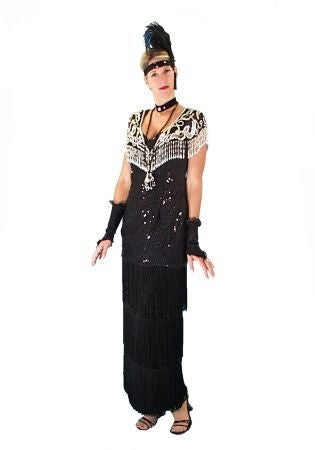 1920's Erte Black with Shawl in Theatrical Costumes from BuffaloBreath at Buffalo Breath Costumes