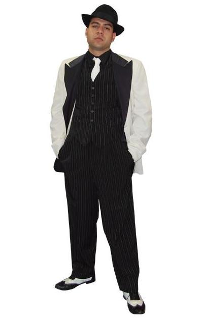 Cotton Club Pinstripe with White Jacket in Theatrical Costumes from BuffaloBreath at Buffalo Breath Costumes