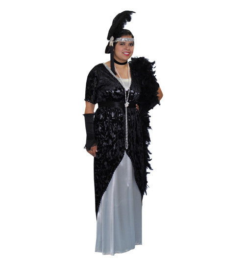 High Society Long Silver with Velvet Black Over Dress in Theatrical Costumes from BuffaloBreath at Buffalo Breath Costumes