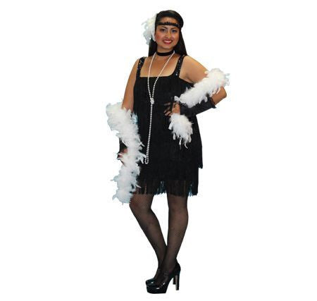 Flapper Black with Velvet Fringe