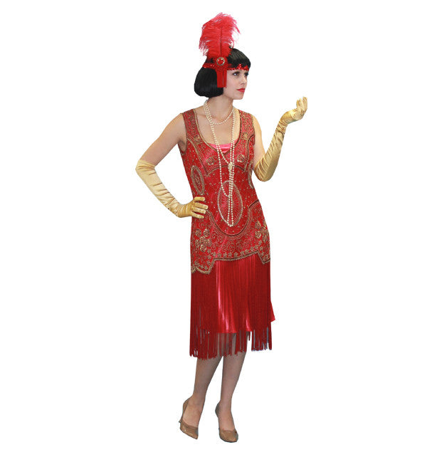 Deluxe Red and Gold Beaded High Society in Theatrical Costumes from BuffaloBreath at Buffalo Breath Costumes
