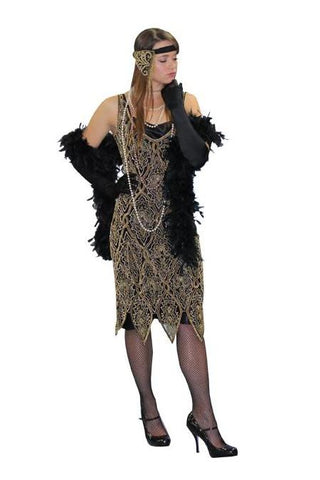 Deluxe Gold and Black High Society 1920's Flapper dress from BuffaloBreath at Buffalo Breath Costumes
