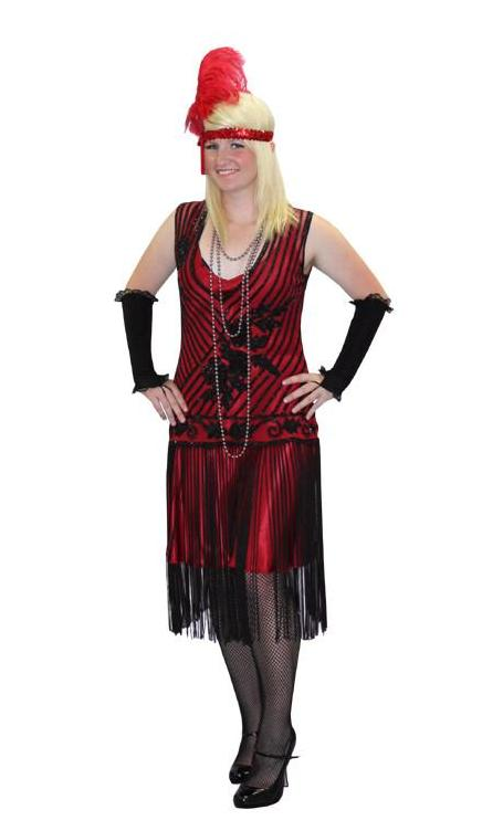 Deluxe Red and Black Beaded High Society Drop Waist in Theatrical Costumes from BuffaloBreath at Buffalo Breath Costumes