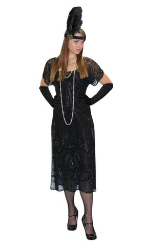 1920s Deluxe Black Beaded Flapper Dress costume to rent or buy from Buffalo Breath Costumes