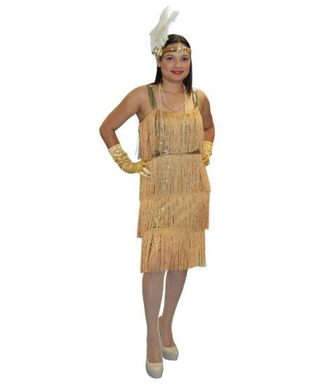 Gold 1920's Flapper Dress costume rental at Buffalo Breath Costumes