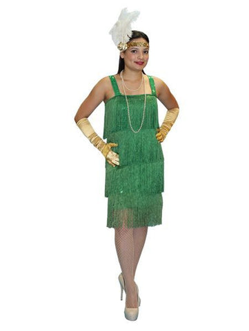 Green 1920s Flapper Dress costume rental from Buffalo Breath Costumes
