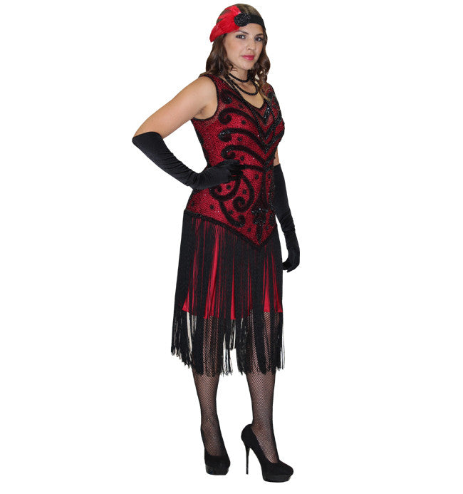 Deluxe Red and Black Beaded High Society in Theatrical Costumes from BuffaloBreath at Buffalo Breath Costumes